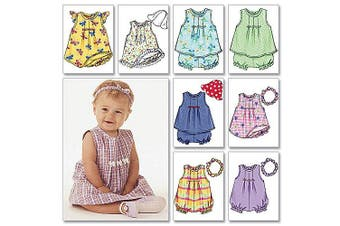 (NB0 (NB-S-M)) - Butterick Pattern Infants' Dress, Top, Romper, Panties, Hat and Headband, NB0 (NB, S, M)
