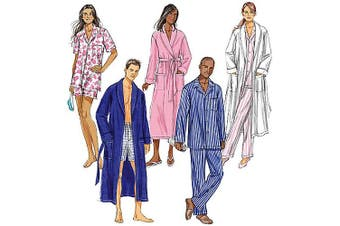 (XM (SML-MED-LRG)) - Butterick Pattern Misses' and Men's Robe, Belt, Top, Shorts and Pants, XM (S, M, L)