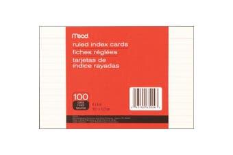 Meadwestvaco 468112 Index Cards 10cm . x 15cm . 100-Pkg-Ruled White