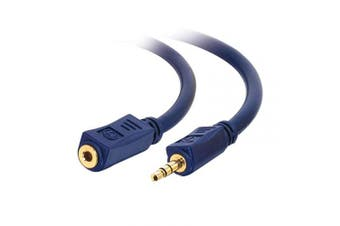 C2G 40609 Velocity 3.5mm M/F Stereo Audio Extension Cable, Blue (12 Feet, 3.65 Metres)