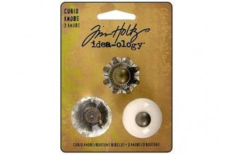 Curio Knobs by Tim Holtz Idea-ology, 3 per Pack, 2.5cm x 2.2cm , White and Clear, Metal and Plastic, TH92840
