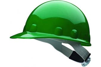 (Green) - Fibre-Metal by Honeywell SuperEight Thermoplastic Cap-Style Hard Hat with 8-Point Ratchet Suspension, Green