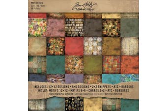 (12x12 Lost and Found) - Lost and Found Paper Stash by Tim Holtz Idea-ology, 36 sheets, Double-Sided Card Stock, Various Sizes, Multicoloured, TH92825