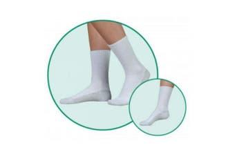 (Medium, White) - Juzo 5760AC06 M OTC Medium Silver Sole Unisex Crew Length Socks - White