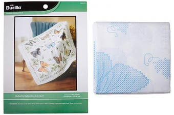 Bucilla 326026 Stamped Cross Stitch Lap Quilt 110cm . x 110cm . -Butterfly Collection