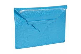 (SKY BLUE) - Budd Leather 552209L-11 Lizard Print 4 X 6 Inch Photo Envelope - Sky Blue