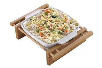 """(9"""" x 9"""" Square Dish) - EVCO International 73456 BAMBOO & STONEWARE Grand Buffet 22.9cm . Square Bakeware Dish with Bamboo Cradles"""