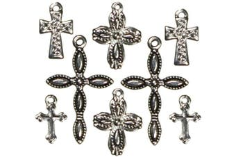 (crosssilver/black8/pkg) - Cousin 150096 Jewellery Basics Metal Charms 8-Pkg-Silver-Black Crosses