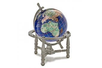 (Caribbean Blue Opalite) - Alexander Kalifano GNT80AS-CB 7.6cm Gemstone Globe with Antique Silver Nautical 3-Leg Stand - Caribbean Blue