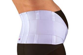 (Medium, White) - GABRIALLA Breathable Elastic Maternity Belt, BEST Pregnancy Support for Women Carrying Multiples - Made in USA - Belly Band for Running & Exercising Moms, Abdominal and Lower Back Pain, Postpartum Recovery (MS-99), Medium   White