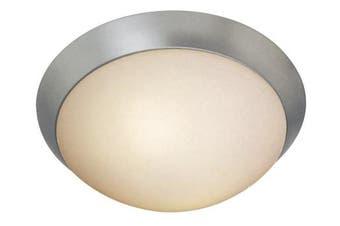 (Brushed Steel Finish) - Cobalt - 2-Light 33cm dia Flush Mount - Brushed Steel Finish - Opal Glass Shade