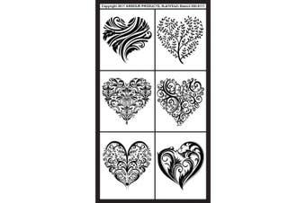 (Fancy Hearts) - Armour Products 130453 Rub n ft. Etch Glass Etching Stencils 13cm . x 20cm . 1-Pkg-Fancy Hearts