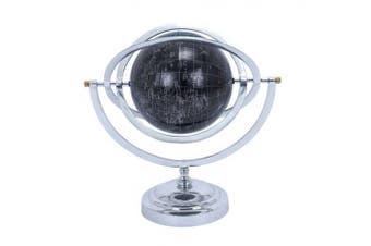 Woodland Import 28352 Metal Globe with White Mapping on Matte Black Background