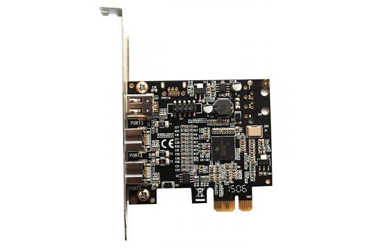 (3-port, SD-PEX30009) - Syba Low Profile PCI-Express 1394b/1394a (2B1A) Card, TI Chipset, Extra Regular Bracket SD-PEX30009