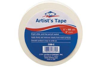 (2.5cm  X 60 yd) - Alvin 2500-C Artist Tape White 2.5cm X 60yds