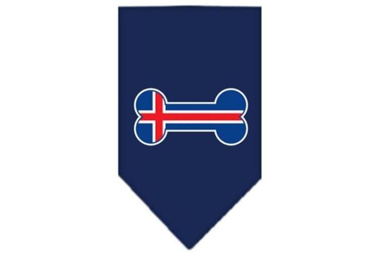 (Large, Navy Blue) - Mirage Pet Products 66-16 LGNB Bone Flag Iceland Screen Print Bandana Navy Blue large