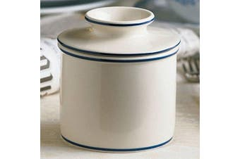 (Le Bistro Bell w/Blue Trim) - The Original Butter Bell Crock by L. Tremain, Specialty Crocks, Le Bistro - White with Blue Banding
