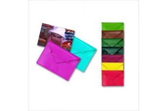 (LIME GREEN) - Budd Leather 552209L-39 Lizard Print 10cm X 15cm Photo Envelope - Lime Green