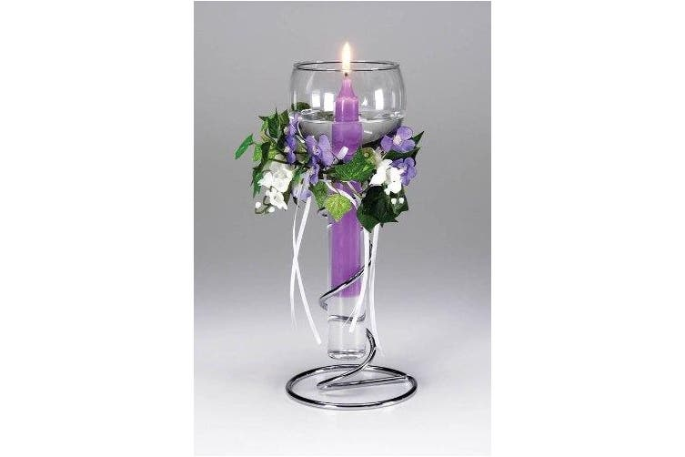 (1, silver) - Darice 1098-05, Floating Candle Glass / Metal Holder, 27cm