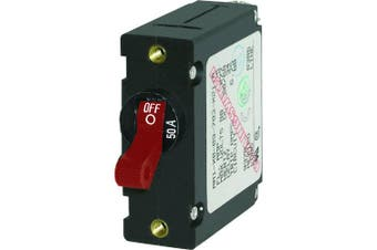(50a, Red) - Blue Sea 7229 AC / DC Single Pole Magnetic World Circuit Breaker - 50 Amp