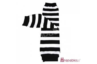 (Stripes Black & White) - Wrapables Stars, Stripes, and Solids Colourful Baby Leg Warmers