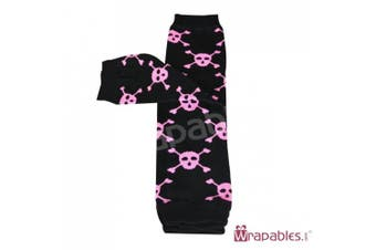 (Skulls Pink) - Wrapables Animals and Fun Colourful Baby Leg Warmers