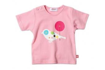 (12m (6-12 months), Pink) - Zutano Birdy Short Sleeve Screen, Pink