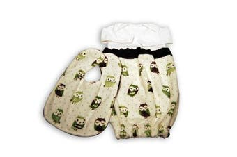 (Green Owls) - Caught Ya Lookin' Baby Bib Gift Set
