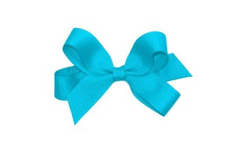 (New Turquoise) - Wee Ones Baby Girls' Tiny Grosgrain Hair Bow on a WeeStay Clip w/Plain Wrap