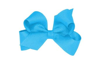 (Island Blue) - Wee Ones® Mini Classic Grosgrain Hair Bow w/Plain Wrap Centre - Antique White