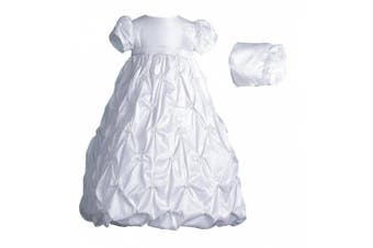 (6-9 Months, White) - Lauren Madison baby girl Christening Baptism Special occasion Newborn Taffeta dress gown With Puckered Embroidery
