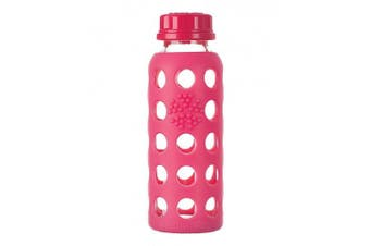 (Raspberry) - Lifefactory 270ml BPA-Free Kids Glass Water Bottle with Flat Cap and Circle Patterned Silicone Sleeve, Raspberry