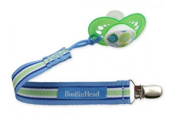 (Blue Green White) - PaciGrip - Universal Pacifier Holder with Clip, that is compatible with all types of pacifiers