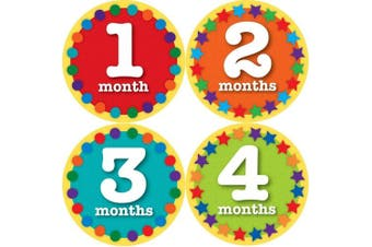 (Nifty Neutral) - Sticky Bellies Baby Onesie Monthly Milestone Stickers