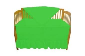 (Dark Green) - Solid Colour Portable Crib Bedding