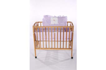 (Lavender) - Baby Doll Bedding Gingham with Elephant Applique Mini Crib/Port-a-Crib Bedding Set, Lavender