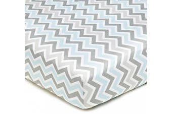 (Blue Zigzag) - American Baby Company 100 Percent Cotton Percale Fitted Crib Sheet, Blue and Grey Zigzag