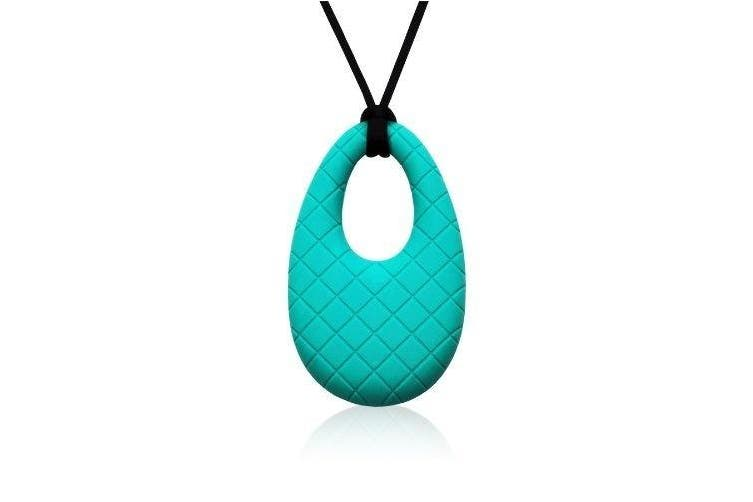 (Teal) - Siliconies Egg Pendant - Silicone Necklace (Teething/Nursing/Sensory) (Peacock - Teal)