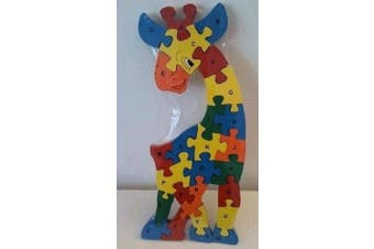 Colourful Chunky Wooden Alphabet Jigsaw Puzzle - Giraffe