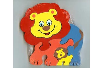 Traditional Wood'n'Fun: Baby/Toodler Wooden Colourful Lion & Cub Jigsaw/Puzzle
