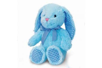 Baby Blue Gorgeous All Blue Bunny Rabbit With Gingham Detailing - Size 25cm