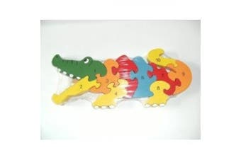 Ackerman Traditional Wood'n'Fun: Baby/Toodler Wooden Colourful Crocodile Jigsaw/Puzzle.