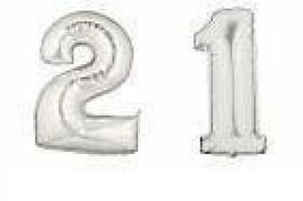 GIANT SILVER NUMBER '21' FOIL BALLOONS DECORATION