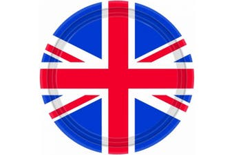 8 Union Jack Paper Party Plates (23cm){Amscan PPP}