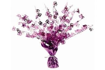 (1, Pink) - FOIL CENTREPIECE - PINK HAPPY 40TH BIRTHDAY