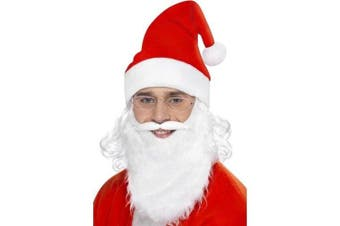 Smiffy's Santa Dress Up Kit Includes Beard/ Hat with Attached Wig and Glasses