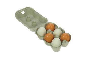 Six Wooden Play Eggs