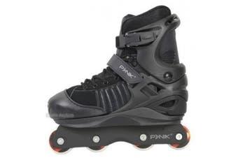 (Black, KD 2-5 UK) - Anarchy Panik 3 Kids Adjustable Aggressive Inline Skates (UK2 to UK5)