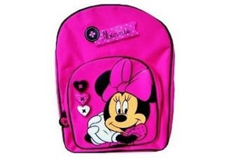 Disney Minnie Mouse - Gorgeous Shocking Pink Backpack with Front Pocket / School Bag