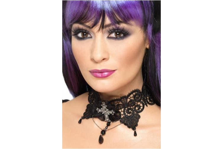 (One Size, Black) - Smiffy's Gothic Lace Choker with Jewelled Cross